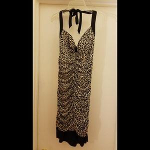 Black & Leopard Print Halter Dress
